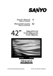 Sanyo DP42410 OM-English Manuals