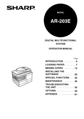Sharp AR-203E X Manuals