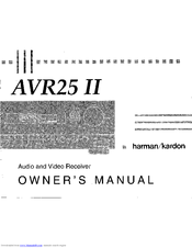 Harman Kardon AVR 25 II Manuals