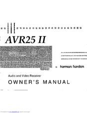 Harman Kardon AVR 25 II Manuals