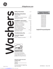 Ge Appliances GFWH1200 Manuals