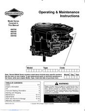 Briggs & Stratton 445700 Series Manuals