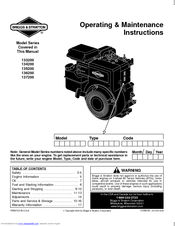Briggs & Stratton 137200 Series Manuals