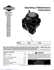 Briggs & Stratton 198700 Series Manuals