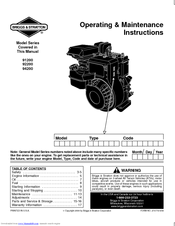 Briggs & Stratton 91200 Series Manuals
