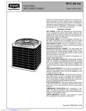 Bryant ELECTRIC AIR CONDITIONER 561C Manuals