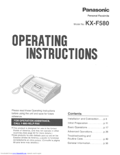 Panasonic KX-F580 Manuals