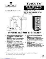 U-line 2015WCOL Wine Captain Manuals