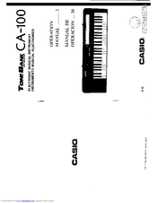 Casio ToneBank CA-100 Manuals