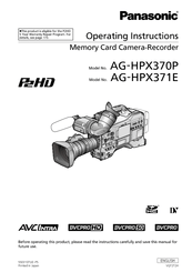 Panasonic AG-HPX370 Manuals