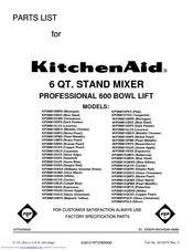 Kitchenaid Mixer Repair Parts List