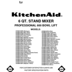 Kitchen Aid Parts When Are Appliances On Sale Kitchenaid Kp26m1x Professional 600 Series Stand Mixer 575 Watt List Pdf Download