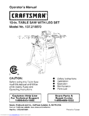 Craftsman 10 Table Saw With Laser Trac Manual