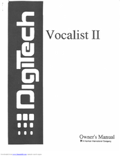 Digitech VOCALIST II Manuals