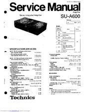 Technics SU-A600 Manuals
