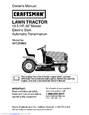 Craftsman 18.5 HP 917.273823 Manuals