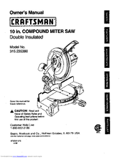Craftsman 10 IN. COMPOUND MITER SAW 315.23538 Manuals