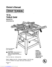 Craftsman 10 IN. TABLE SAW 315.22811 Manuals