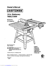 Craftsman TABLE SAW 315.22831 Manuals