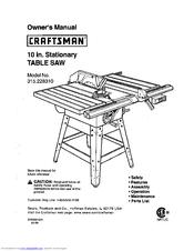 Craftsman TABLE SAW 315.22831 Manuals