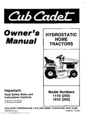 Cub Cadet 1610 (393) Manuals