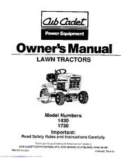 Cub Cadet 1730 Manuals