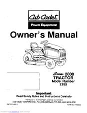 Cub Cadet 2185 Manuals
