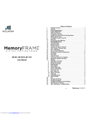 Digital Spectrum MemoryFrame MF-801 Manuals