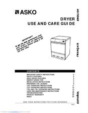 Asko T781 Manuals