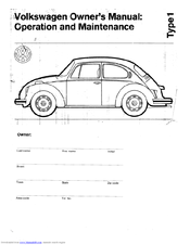 Volkswagen Sedan 113 Manuals