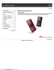 Sony WALKMAN NWZ-E353 Manuals