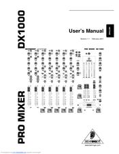Behringer PRO MIXER DX1000 Manuals