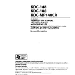 Kenwood Kdc 108 Car Stereo Wiring Diagram For Tow Bar Instruction Manual Pdf Download