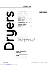 Hotpoint DuraDrum HTDX100EMWW Manuals