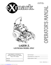 Exmark LAZER Z LZ27KC604 Manuals