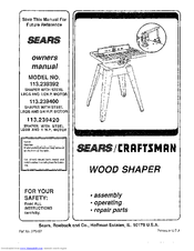 Craftsman 113.239392 Manuals
