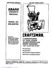 Craftsman 536.884780 Manuals