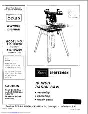 Sears Craftsman 113.199250 Manuals