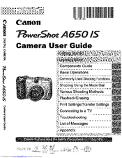 Canon Powershot A650 IS Manuals