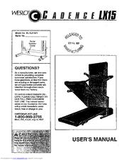 Weslo CADENCE LX 15 Manuals