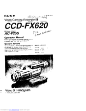 Sony Video8 Handycam CCD-FX620 Manuals