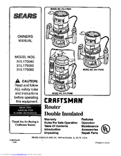 Craftsman 315.175060 Manuals