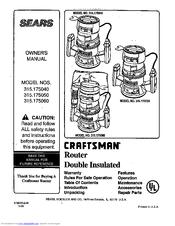 Craftsman 315.175040 Manuals