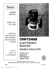 Craftsman 315.17500 Manuals