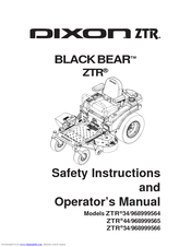 Dixon BLACK BEAR ZTR 44/968999565 Manuals