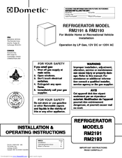 dometic rm2193 wiring diagram 98 ford expedition fuse box rm2191 installation operating instructions manual pdf download