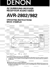 Denon AVR-2802 Manuals