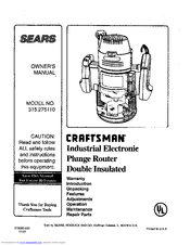 Craftsman 315.275110 Manuals
