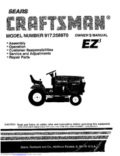 Craftsman EZ3 917.258870 Manuals