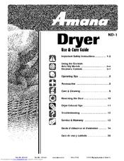 Amana NDE2335AYW Manuals